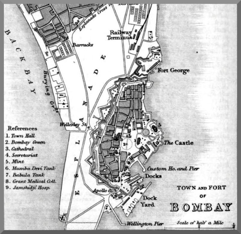 "Old map of Fort George from ""A handbook for India. Part ii. Bombay"", publishers: John Murray - January 1, 1959"