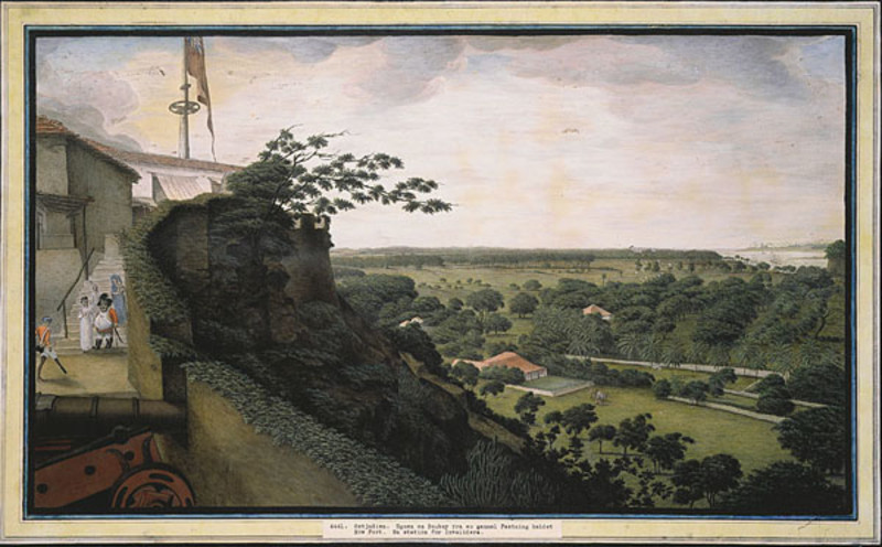 James Wales depiction of the view from Sion Fort
